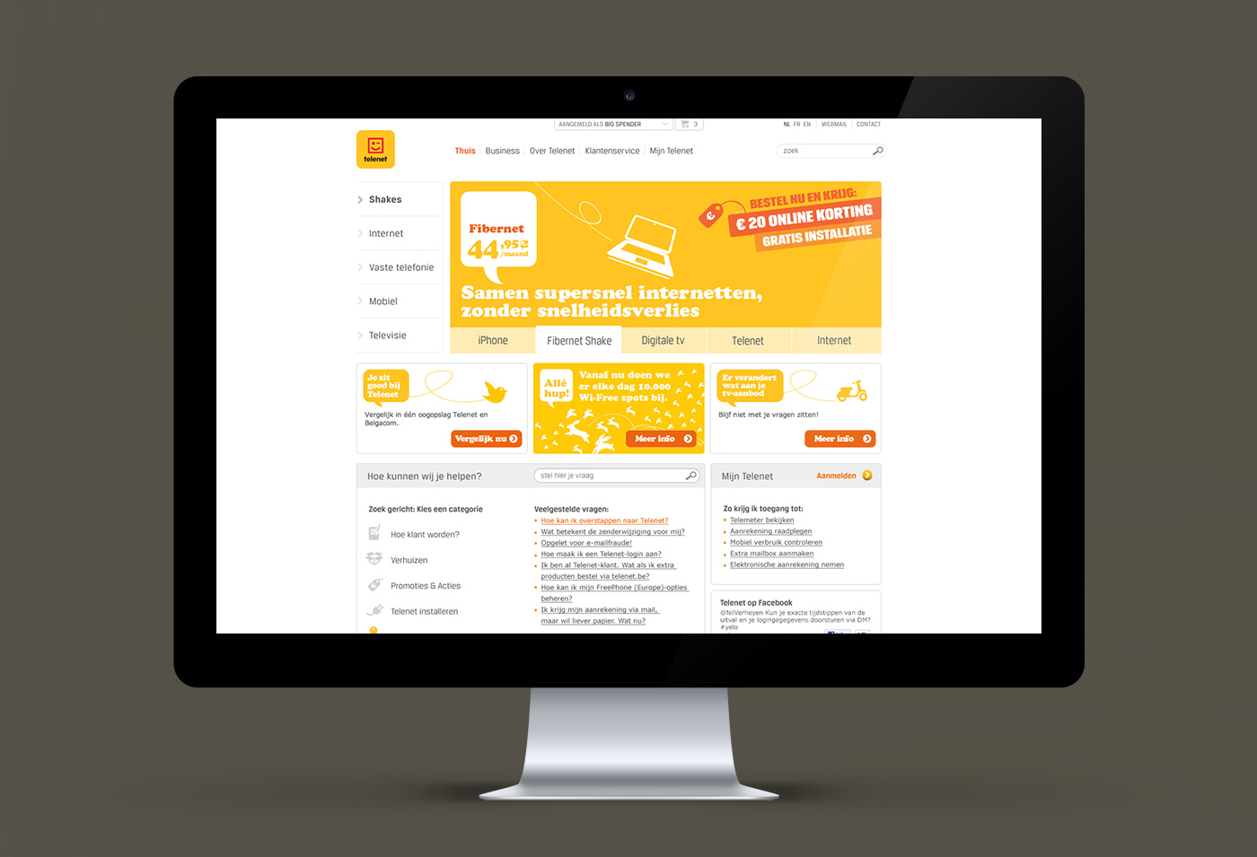 Telenet website